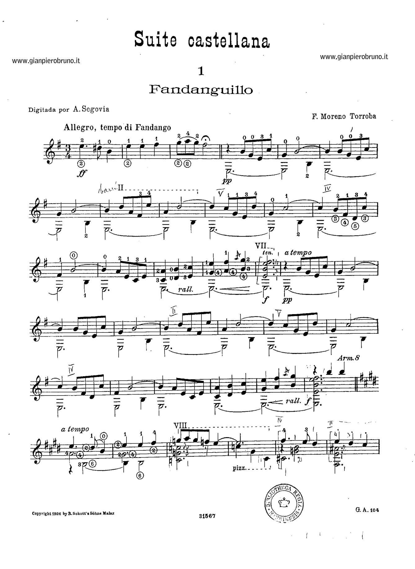 Partiture chitarra classica