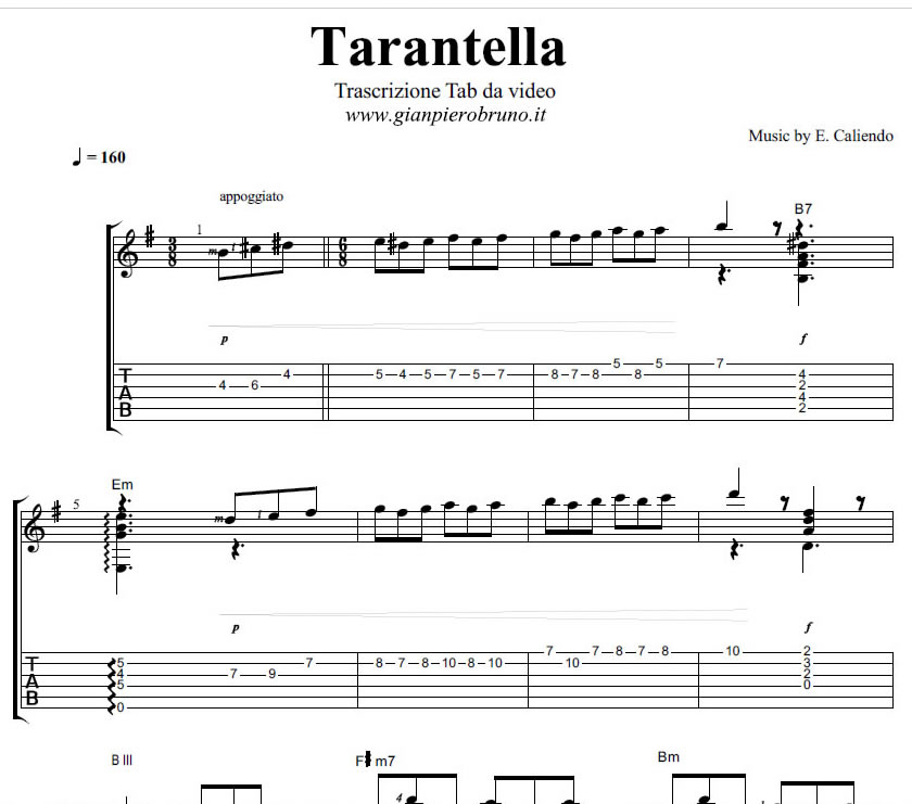 Besame Mucho Lyrics Sheet Music: Anteprima Video Tutorial Tarantella